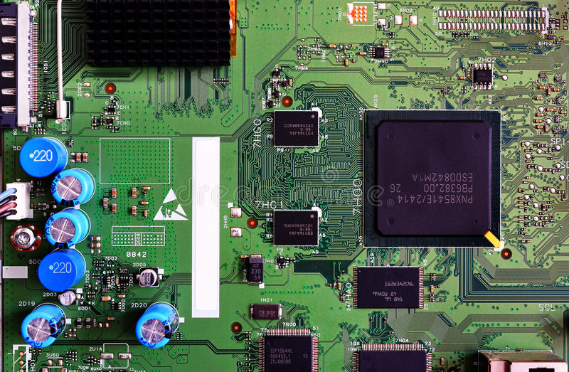 Primer electrónico del color verde de la placa de circuito fotografía de archivo
