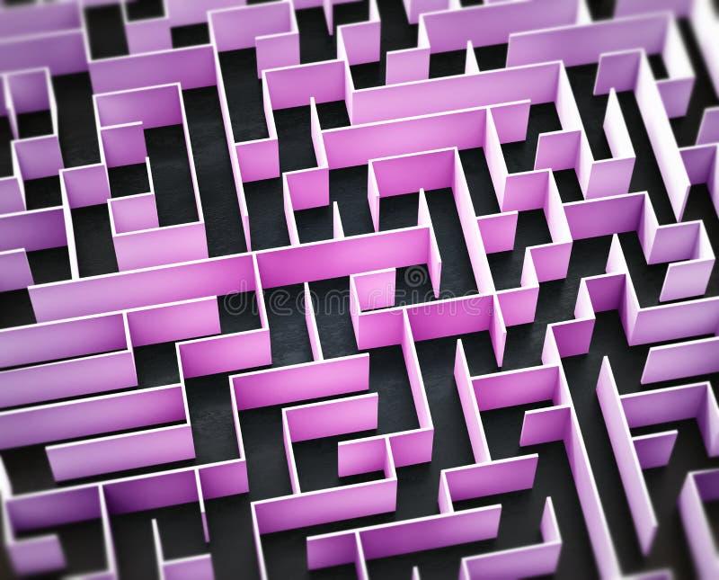 Primer en un laberinto rosado ilustración del vector