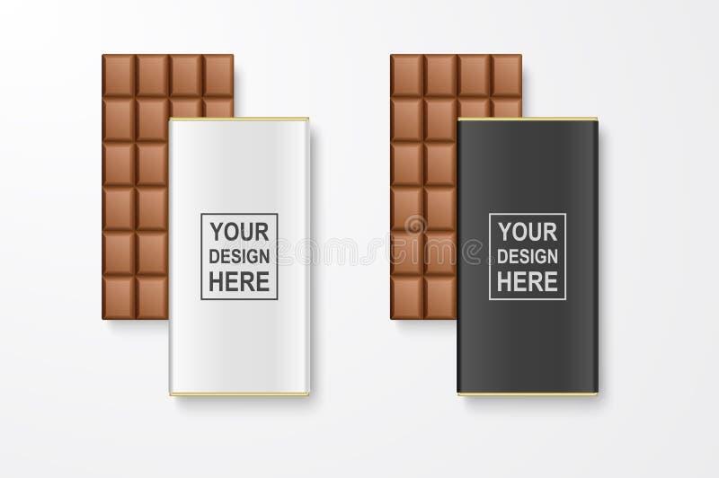 Primer entero en blanco blanco del vector 3d y negro realista del sistema del paquete de la barra de chocolate aislado en el fond ilustración del vector