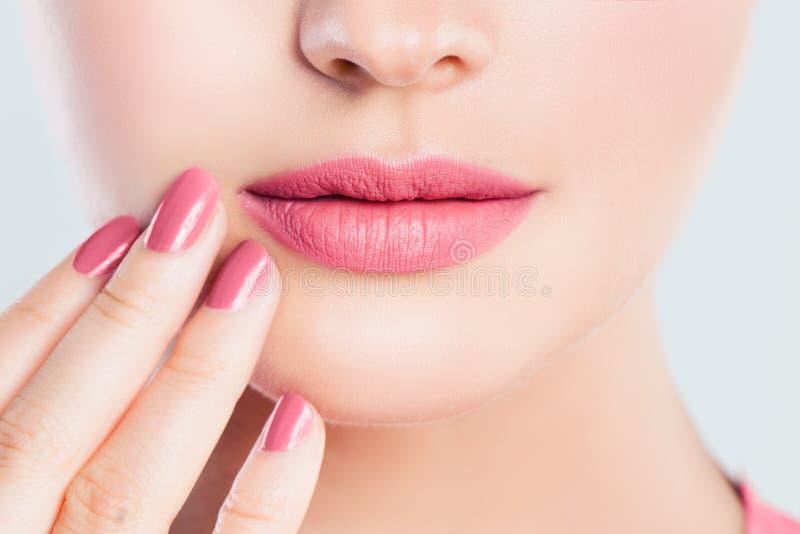 Primer femenino perfecto de los labios Maquillaje rosado de los labios fotos de archivo libres de regalías