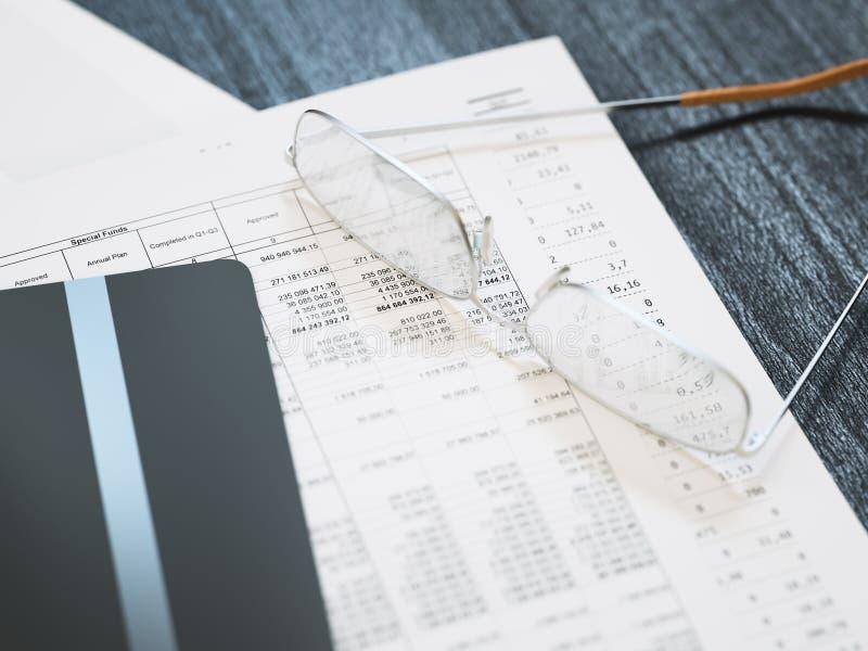 Primer financiero del informe del negocio imagen de archivo