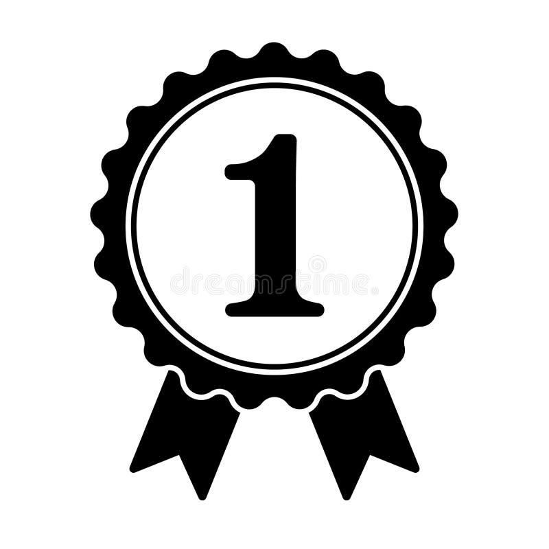 Primer icono del ganador del lugar, icono de la medalla del triunfo, premio de oro del ganador, símbolo del éxito stock de ilustración