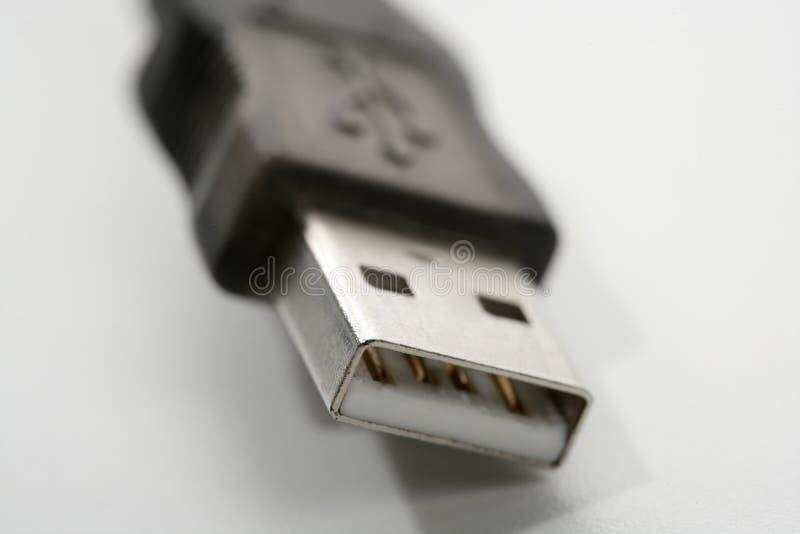Primer macro de la conexión del USB sobre blanco imagenes de archivo