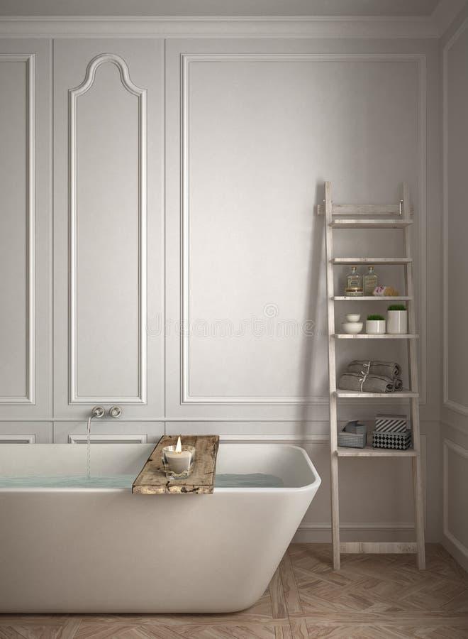 Primer minimalista del cuarto de baño, diseño interior escandinavo blanco ilustración del vector