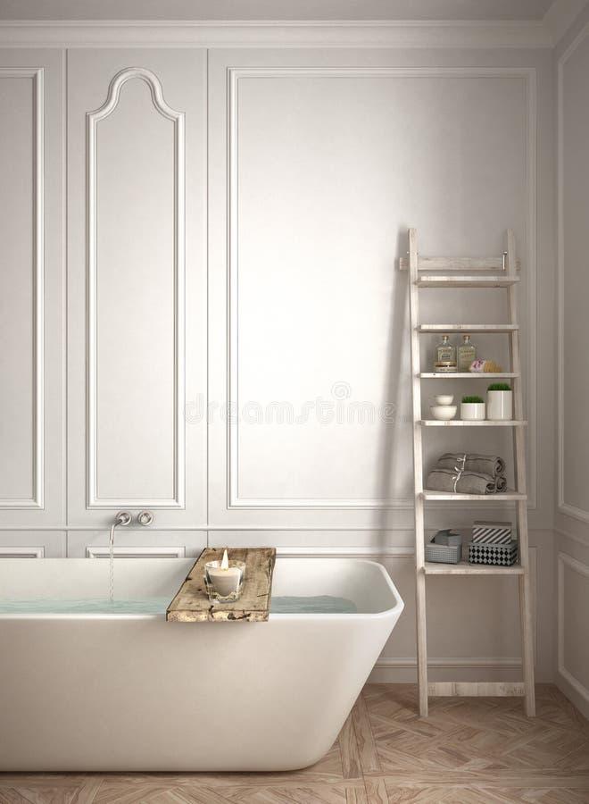 Primer minimalista del cuarto de baño, diseño interior escandinavo blanco libre illustration