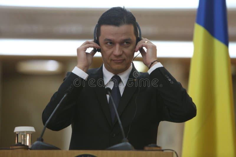 Primer ministro rumano Sorin Grindeanu foto de archivo