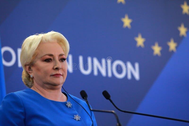 Primer ministro rumano Viorica Dancila imágenes de archivo libres de regalías