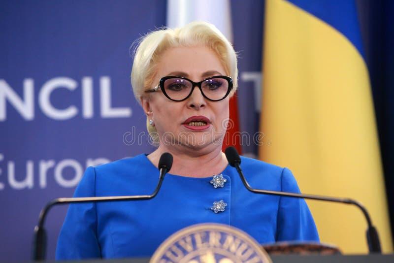 Primer ministro rumano Viorica Dancila imagenes de archivo