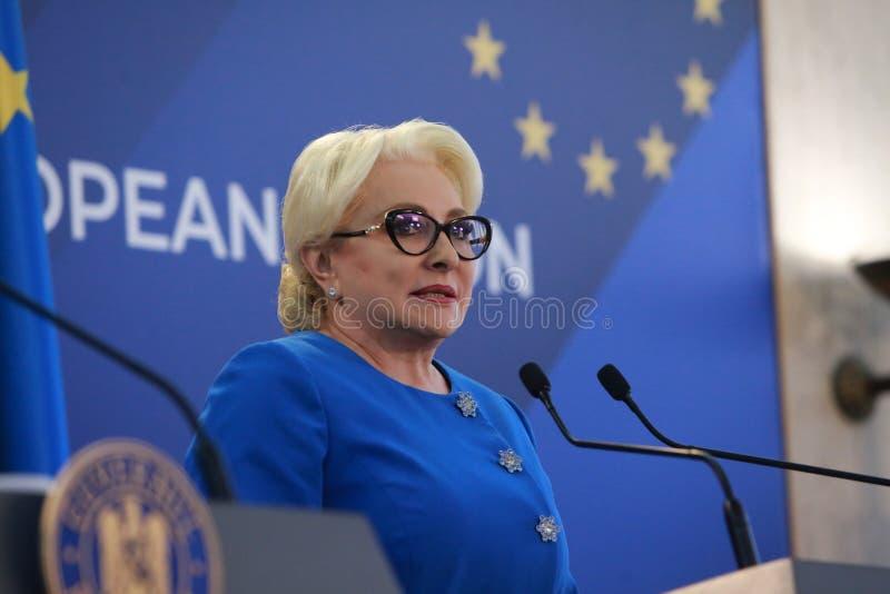 Primer ministro rumano Viorica Dancila foto de archivo