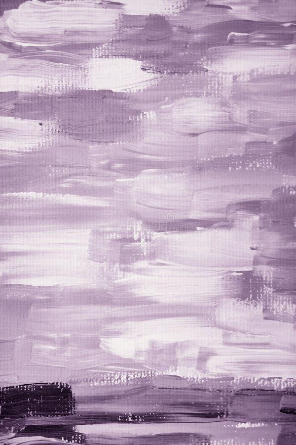 Primer original blanco púrpura abstracto moderno de la pintura al óleo ilustración del vector