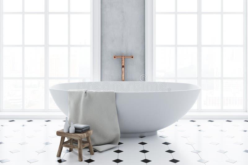 Primer panorámico de lujo del interior del cuarto de baño ilustración del vector