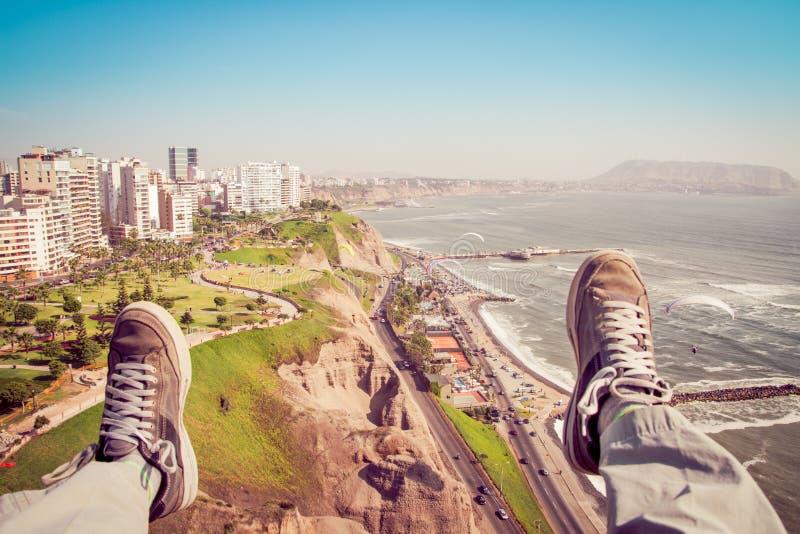 Primer Paragliding de la perspectiva de la persona foto de archivo