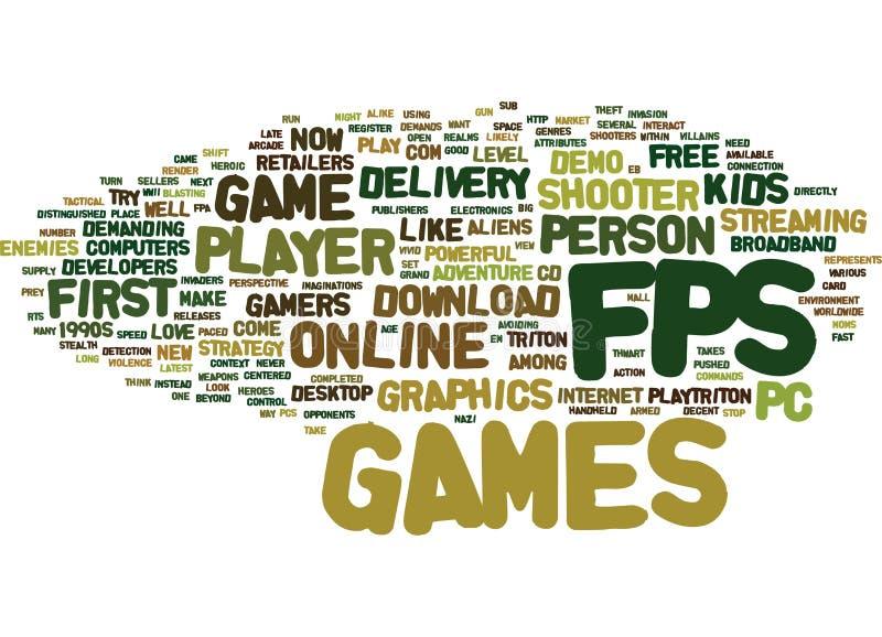 Primer Person Shooter Games Text Background concepto de la nube de la palabra de Fps libre illustration