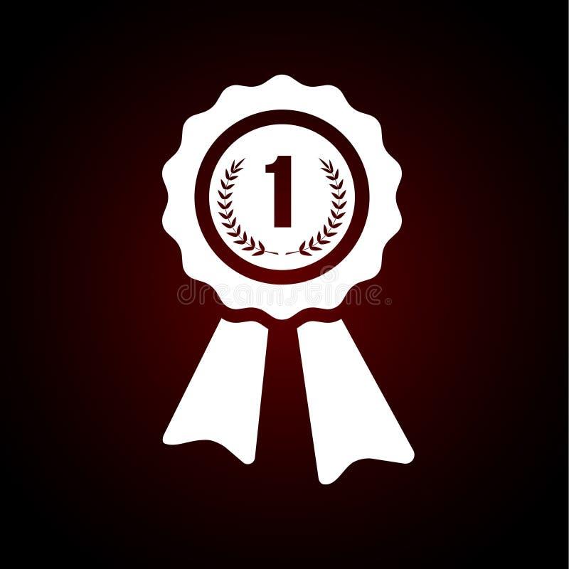Primer premio del lugar, icono de la insignia del ganador Emblema para el diseño stock de ilustración