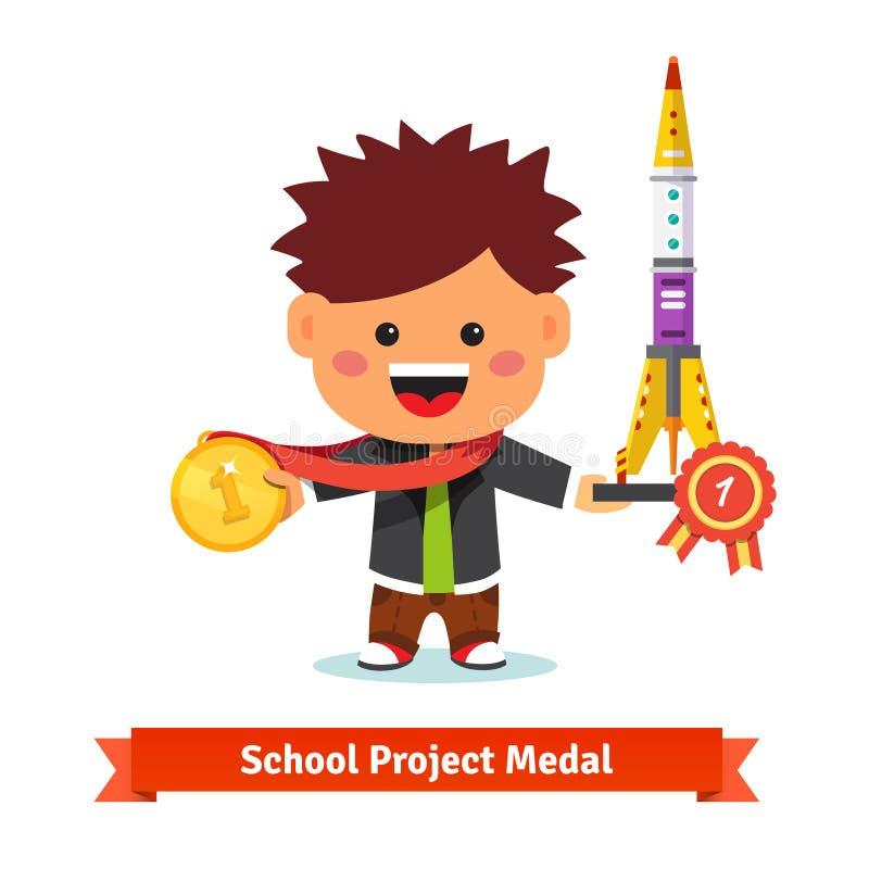 Primer premio tomado niño feliz en el aire de la ciencia de la escuela ilustración del vector