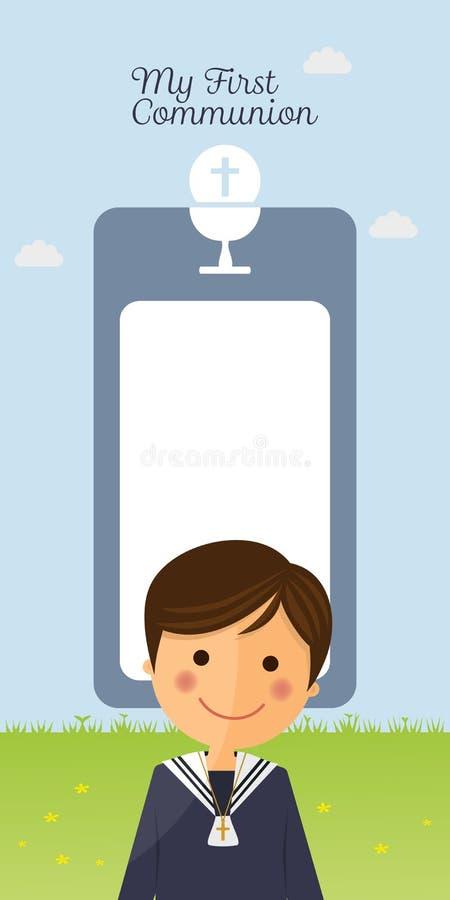 Primer primero plano del niño de la comunión en fondo de la tarjeta vertical y del cielo azul ilustración del vector
