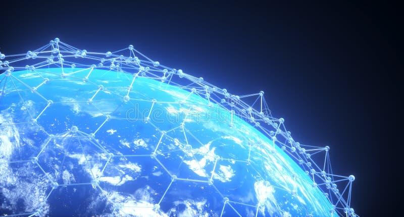 Primer realista de la tierra del planeta con la red abstracta de la conexión libre illustration