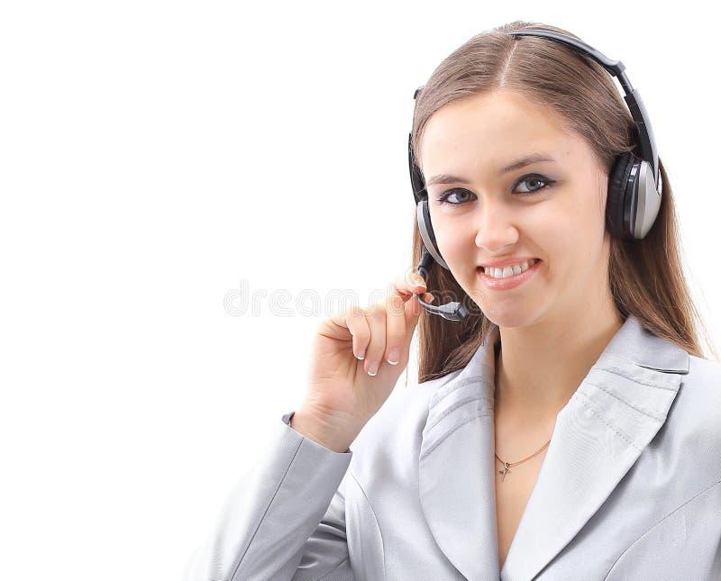 primer retrato de un centro de atenci?n telef?nica del empleado con auriculares foto de archivo