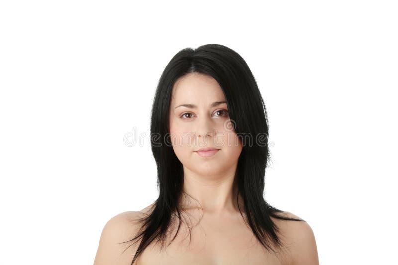 Primer, retrato de una mujer corpulenta foto de archivo
