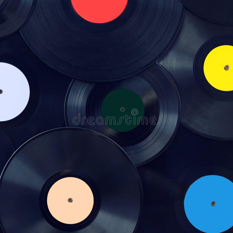 Primer retro de los discos del vinilo del fondo de la música, concepto del disco de los sonidos fotografía de archivo