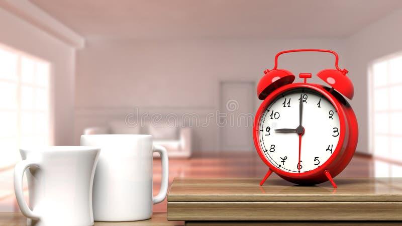 Primer retro del despertador con dos tazas de café ilustración del vector