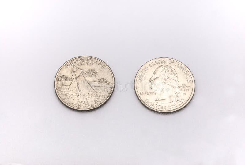 Primer A Rhode Island State Symbol En Moneda Del Dlar Cuarto En El