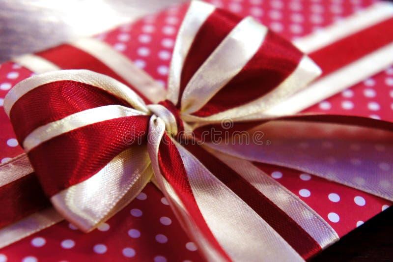 Primer rojo del arco del regalo primer del regalo de vacaciones Puntos de polca blancos fotos de archivo