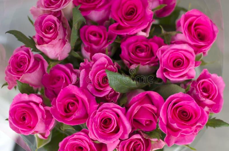 Primer rosado de las rosas Un ramo de rosas rosadas en una caja de embalaje hermosa imagenes de archivo
