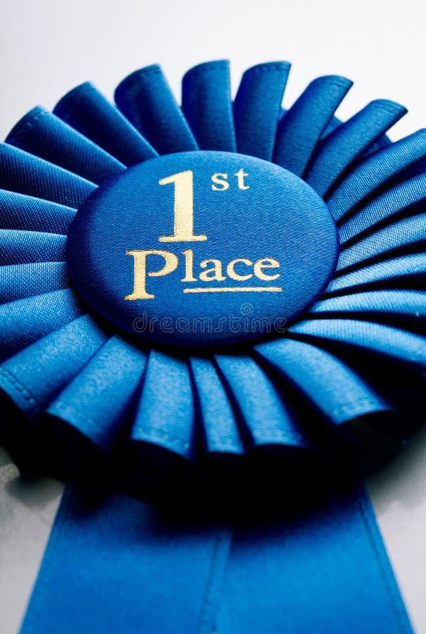 Primer rosetón del ganador del lugar del azul fotografía de archivo libre de regalías