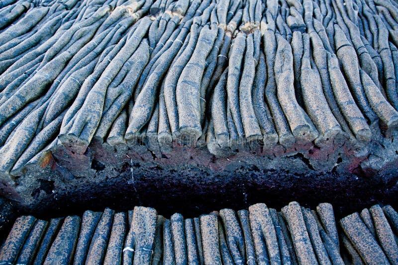 Primer tirado de formaciones de la lava en Santiago Island foto de archivo