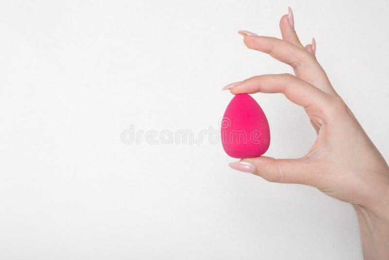 Primer tirado de la mano femenina que sostiene la esponja rosada del huevo sobre un fondo blanco Espacio vacío foto de archivo libre de regalías