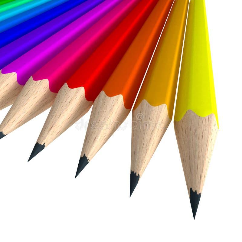 Primer tirado de una composición colorida del lápiz stock de ilustración