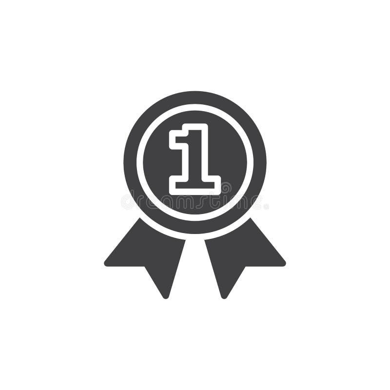 Primer vector del icono de la medalla del lugar stock de ilustración