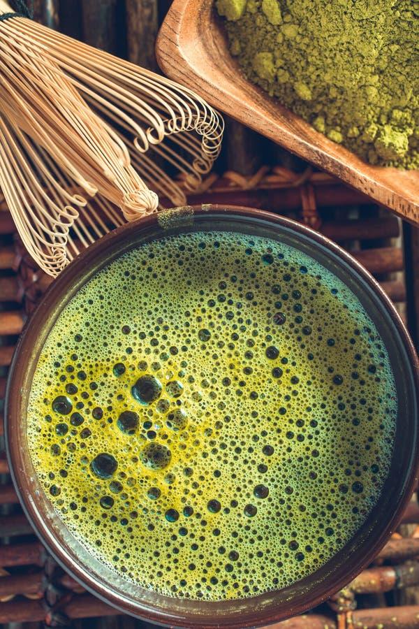 Primer verde orgánico del té del matcha imágenes de archivo libres de regalías