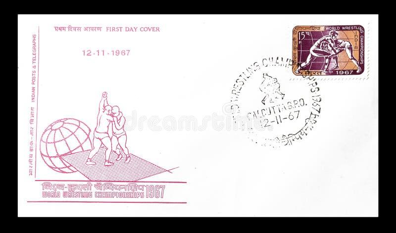 Primera carta de presentación del día impresa por la India fotos de archivo
