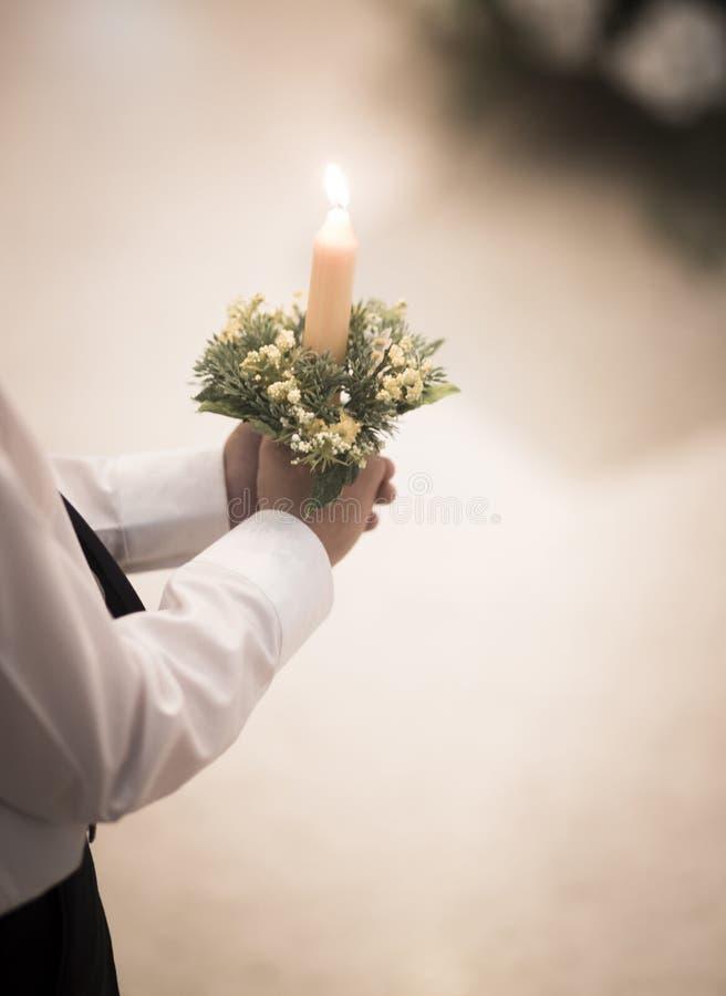 Primera ceremonia de la comunión del católico fotografía de archivo libre de regalías