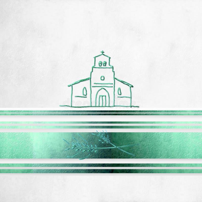 Primera comunión del fondo, iglesia divertida ilustración del vector