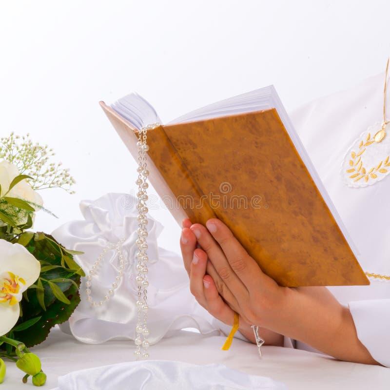 Primera comunión santa fotografía de archivo libre de regalías
