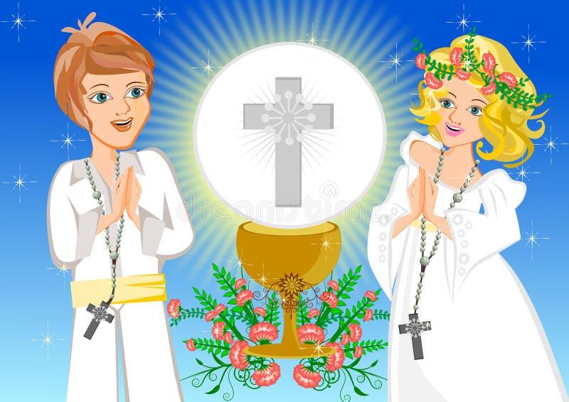 Primera comunión santa ilustración del vector