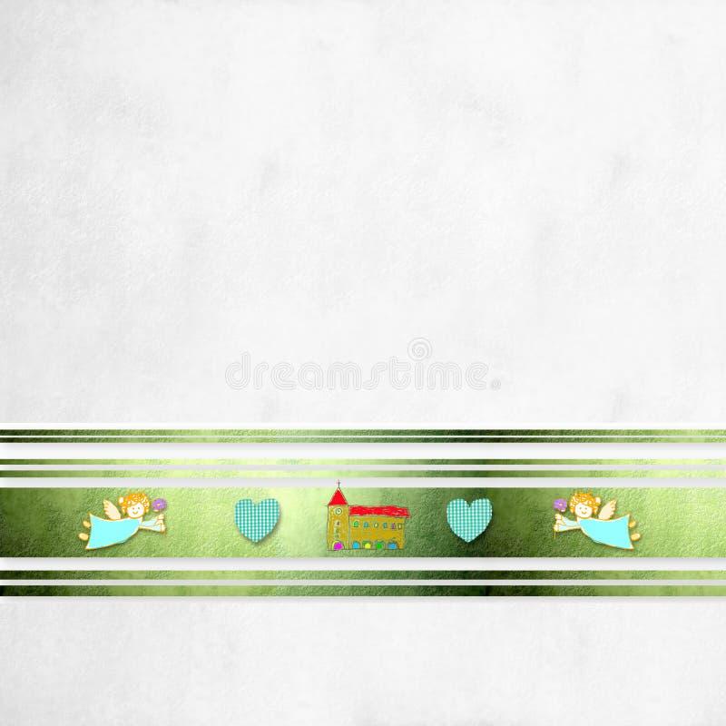Primera iglesia y corazones de Ángeles de la tarjeta de la comunión stock de ilustración