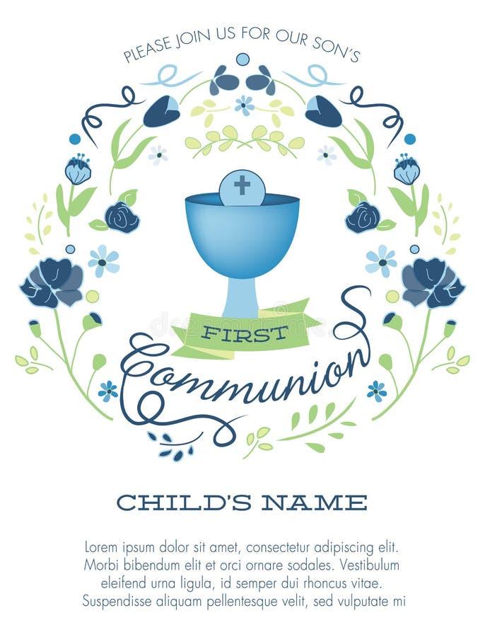 Primera invitación de la comunión santa de los muchachos azules y verdes con cáliz y las flores stock de ilustración