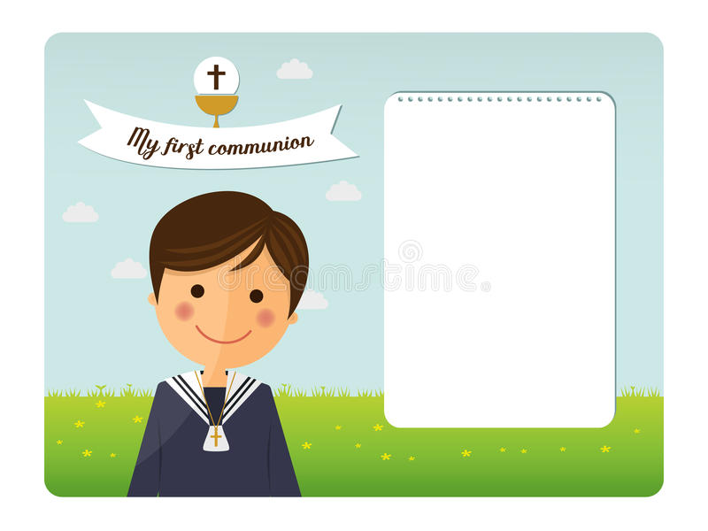 Primera invitación del primero plano del niño de la comunión stock de ilustración