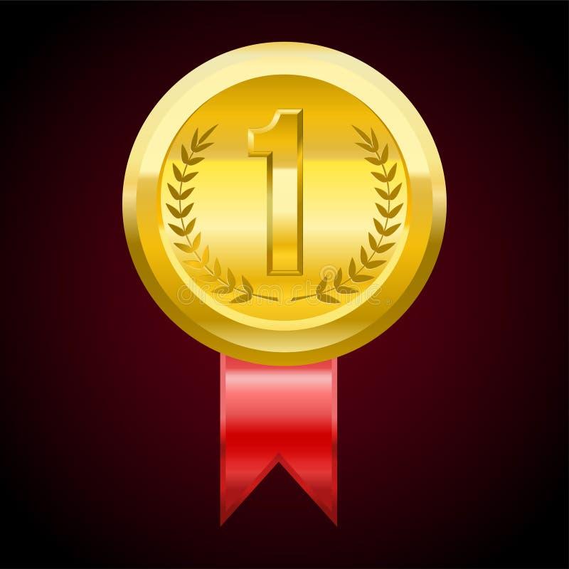 Primera medalla de oro del lugar, ejemplo del premio del vector stock de ilustración