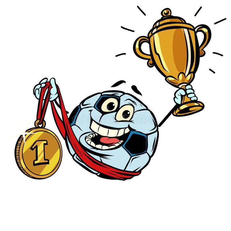 Primera medalla de oro del lugar Fútbol del balón de fútbol del carácter aislante ilustración del vector