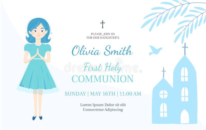 Primera plantilla del diseño de la invitación de la comunión santa La muchacha cristiana ruega stock de ilustración