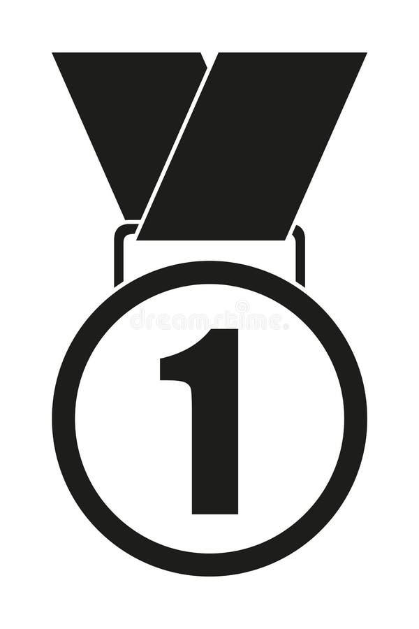 Primera silueta blanco y negro de la medalla del lugar stock de ilustración