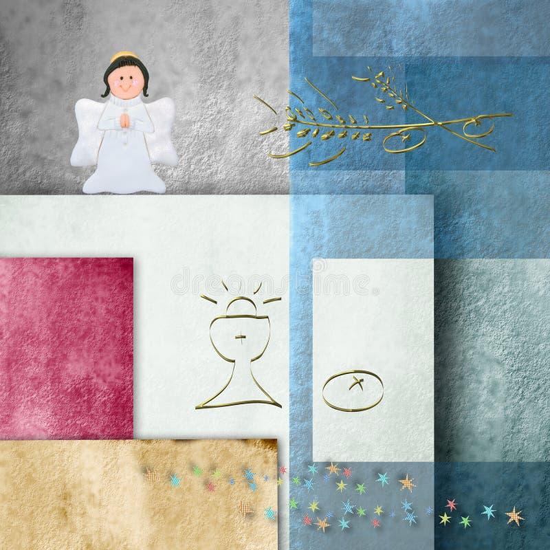 Comunión, cáliz y ángel alegres del fondo primera libre illustration