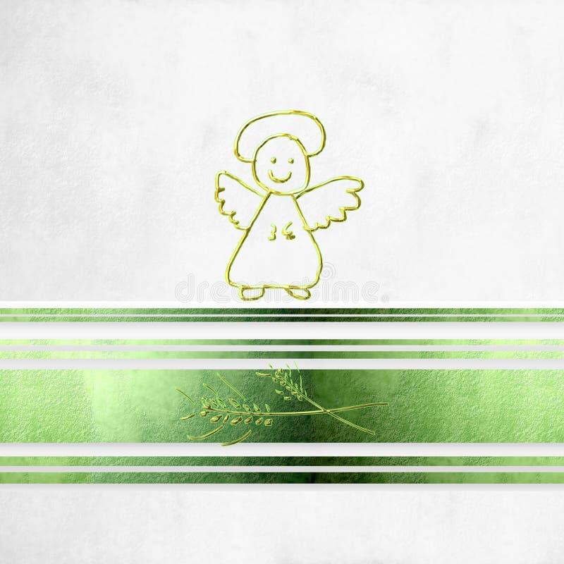 Primera tarjeta, ángel y oídos de la comunión del trigo libre illustration