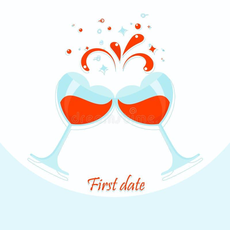 Primera tarjeta de fecha stock de ilustración
