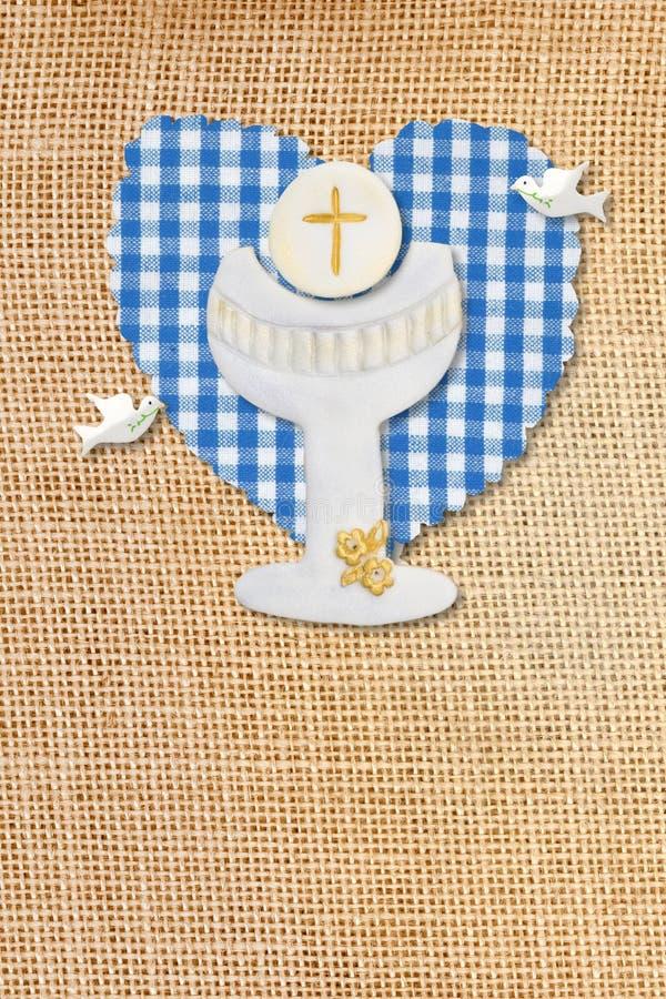 Primera tarjeta de la comunión, cáliz fotografía de archivo libre de regalías